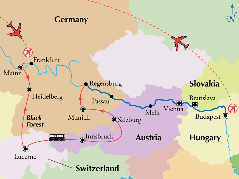 18 Day Danube River Cruise with Germany Switzerland Austria
