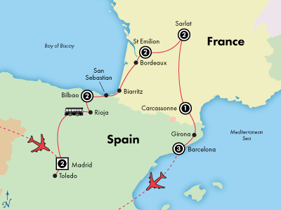 Day France Spain History Culture Wine Visit Barcelona - Map of france and spain