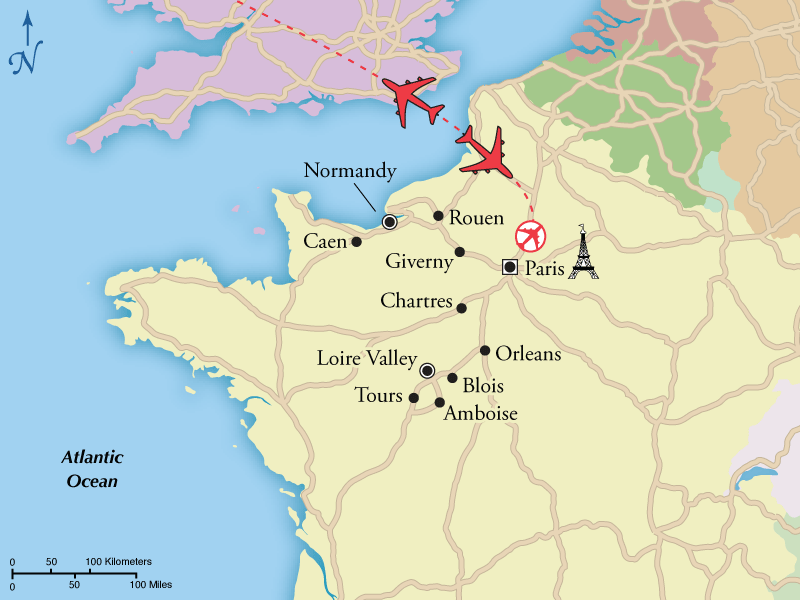 9 Day Loire Valley Normandy Fly Drive With Paris Visit: Paris To Normandy Map At Infoasik.co