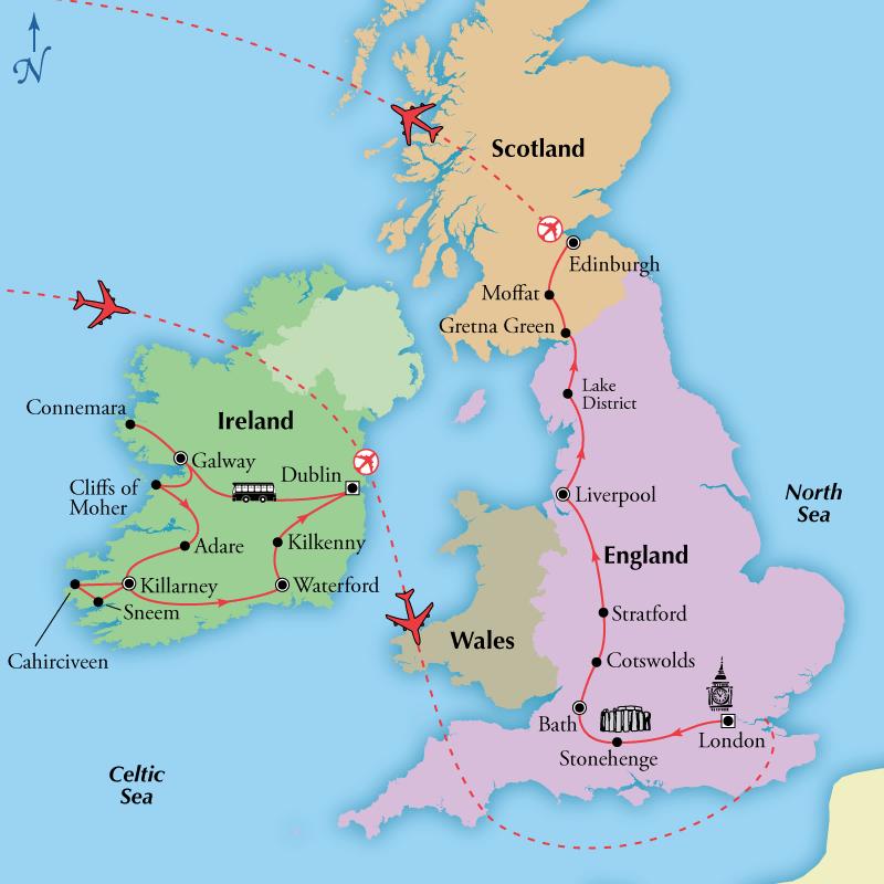 Day Ireland England Scotland Visit Bath Dublin Edinburgh - Map of ireland and england